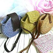 Сумки и аксессуары handmade. Livemaster - original item Round knitted bag with genuine leather elements. Handmade.