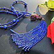 Украшения handmade. Livemaster - original item Blue lapis lazuli Sotuar Necklace with tassel BLUE ELEPHANT Authors w. Handmade.