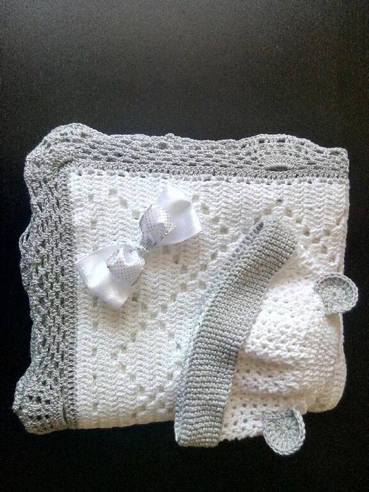 Для новорожденных, ручной работы. Ярмарка Мастеров - ручная работа. Купить Покрывало для новорожденного. Handmade. Плед детский, комплект вязаный