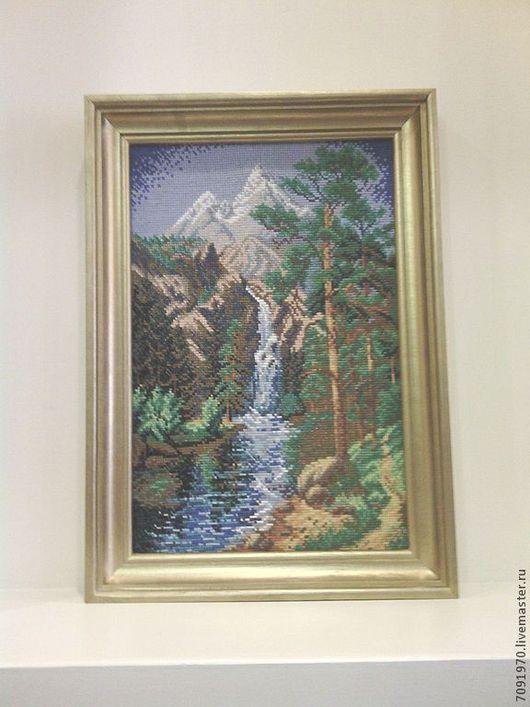 Пейзаж ручной работы. Ярмарка Мастеров - ручная работа. Купить Водопад. Handmade. Пейзаж, водопад, лес, мулине, горы, канва