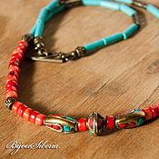 Работы для детей, handmade. Livemaster - original item Beads with turquoise and coral