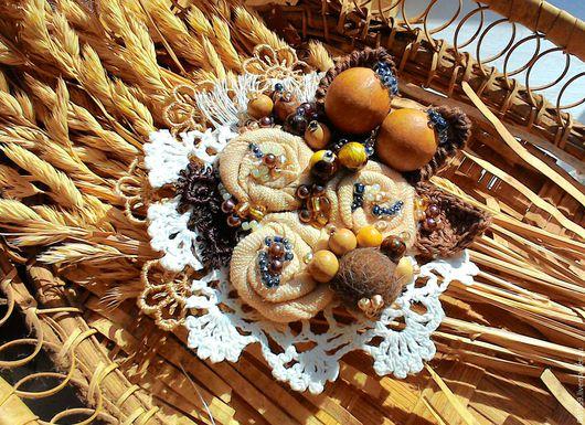 """Броши ручной работы. Ярмарка Мастеров - ручная работа. Купить Текстильная брошь """" Имбирное печенье"""". Handmade. Комбинированный, можжевельник"""