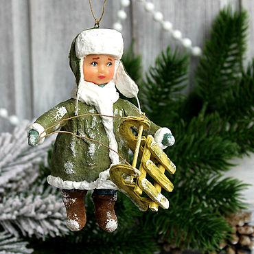 Куклы и игрушки ручной работы. Ярмарка Мастеров - ручная работа Игрушка на елку из ваты Мальчик с санками.. Handmade.