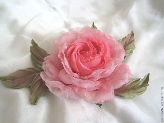"""Цветы ручной работы. Ярмарка Мастеров - ручная работа. Купить Шелковая брошь """"Розовая жемчужина"""". Handmade. Розовый, стильный аксессуар"""