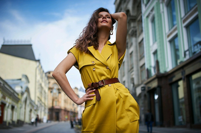 "Платье-жилет ""Сафари Горчичка"", Платья, Москва,  Фото №1"