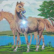 """Картины и панно ручной работы. Ярмарка Мастеров - ручная работа Вышитая картина """"Лошади"""". Handmade."""