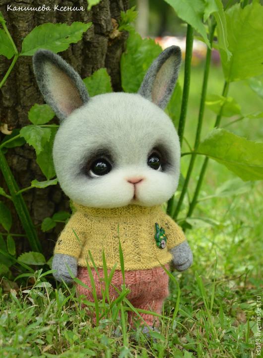 Игрушки животные, ручной работы. Ярмарка Мастеров - ручная работа. Купить Крольчонок Ярик. Handmade. Серый, игрушка из шерсти, шерсть