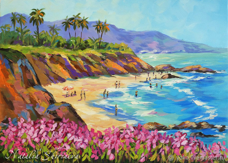 Painting with the sea 'Beach, California' oil on canvas, Pictures, Antalya,  Фото №1