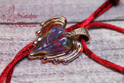 Кулон сердце подвеска сердечко авторского стекла крылья ангела муранское венецианское художественное стекло подарок женщине девочке девушке купить