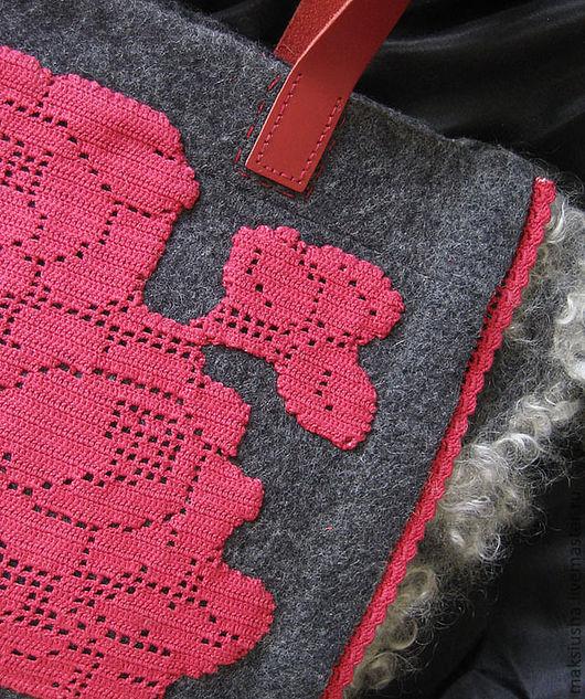 Женские сумки ручной работы. Ярмарка Мастеров - ручная работа. Купить Валяная сумка Розы. Handmade. Сумка валяная, красный