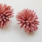"""Украшения ручной работы. Ярмарка Мастеров - ручная работа серьги из кожи, гвоздики""""Розовые грёзы"""" украшения. Handmade."""