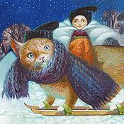 Картины и панно ручной работы. Ярмарка Мастеров - ручная работа Принт Зимний кот. Handmade.