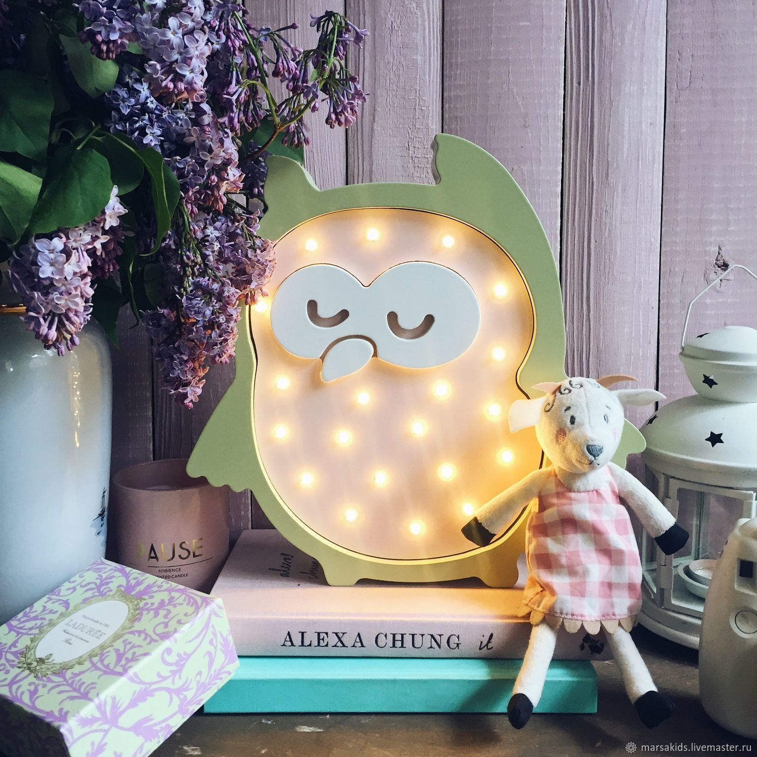 Nightlamp Owl olive/light-pink color, Lamp, Moscow, Фото №1