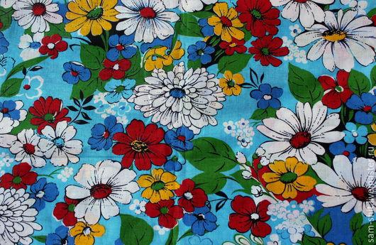 Шитье ручной работы. Ярмарка Мастеров - ручная работа. Купить Отрез хлопка полевые цветы 50х40 см. Handmade. Синий