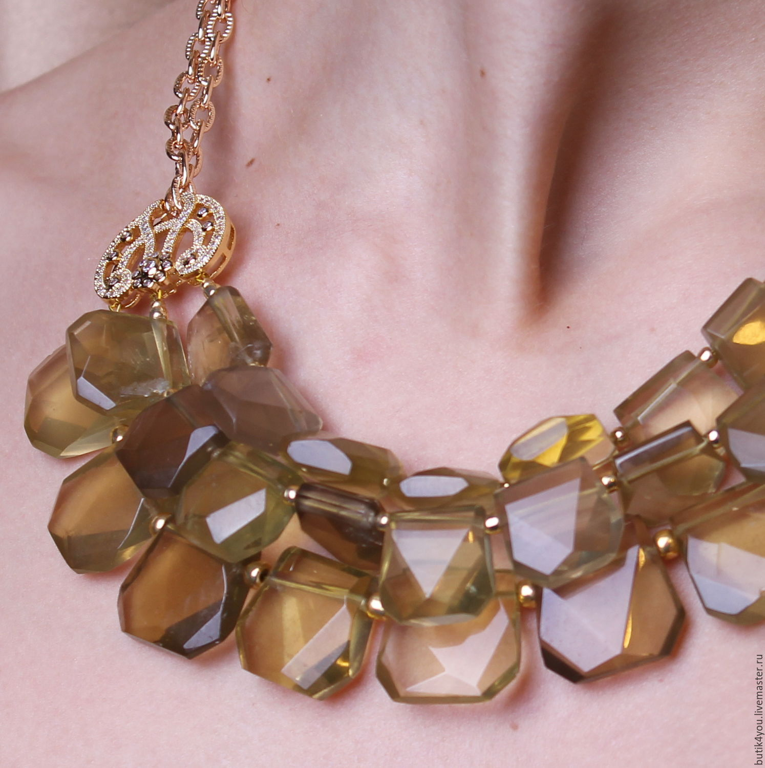 'Favorite flavor of Louis XIV' Necklace with lemon Topaz. France theatre, Necklace, Moscow,  Фото №1