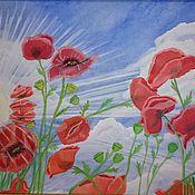 """Картины и панно ручной работы. Ярмарка Мастеров - ручная работа Картина """"Маки под солнцем"""", гуашью. картина. картина цветы. природа. Handmade."""