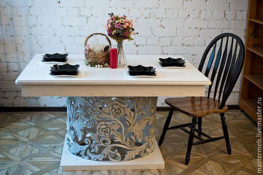 Мебель ручной работы. Ярмарка Мастеров - ручная работа. Купить Стол обеденный. Handmade. Белый, обед, шпон натурального дерева