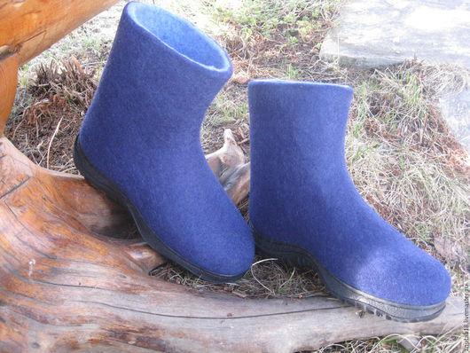Обувь ручной работы. Ярмарка Мастеров - ручная работа. Купить Валенки мужские. Handmade. Тёмно-синий, валенки для улицы