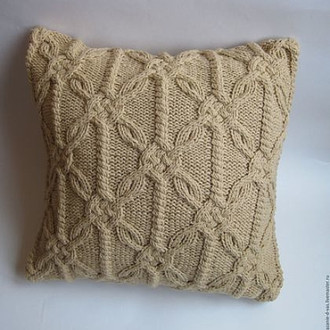Textiles handmade. Livemaster - original item Knitted decorative pillow beige. Handmade.