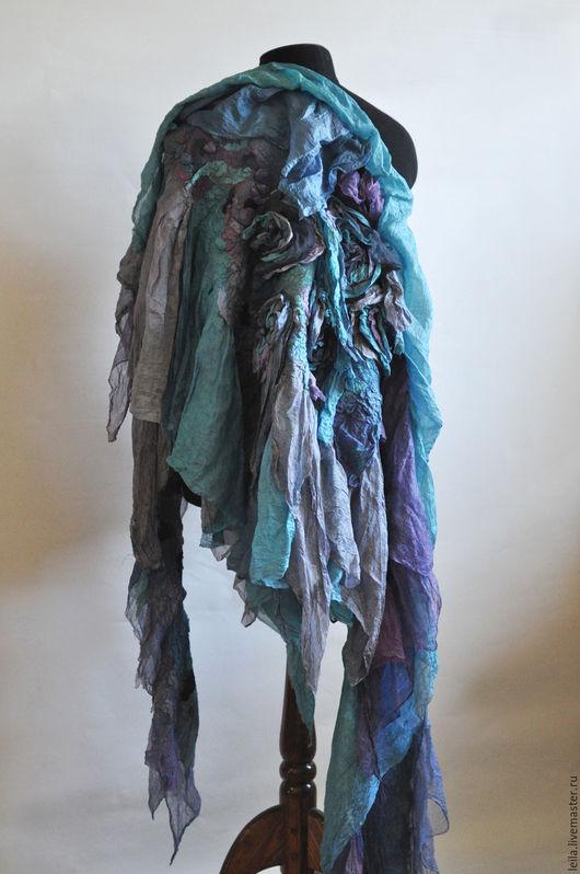 """Шали, палантины ручной работы. Ярмарка Мастеров - ручная работа. Купить Палантин-шаль  """"Turquoise in shades of grey"""". Handmade."""