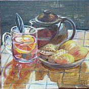"""Картины и панно ручной работы. Ярмарка Мастеров - ручная работа Картина """"Чай с лимоном, вафлями и печеньем"""". Handmade."""