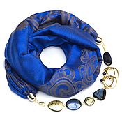 Аксессуары handmade. Livemaster - original item Cashmere scarf-necklace (blue). Handmade.