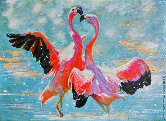 """Животные ручной работы. Ярмарка Мастеров - ручная работа. Купить """"Танец любви"""". Handmade. Разноцветный, любовь, картина, картина для интерьера"""