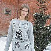 Одежда ручной работы. Ярмарка Мастеров - ручная работа Теплое платье серое с принтом. Handmade.
