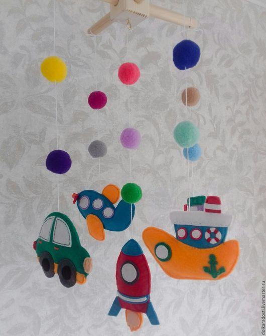 """Развивающие игрушки ручной работы. Ярмарка Мастеров - ручная работа. Купить Мобиль из фетра """"Первый транспорт"""". Handmade. Мобиль, паровозик"""