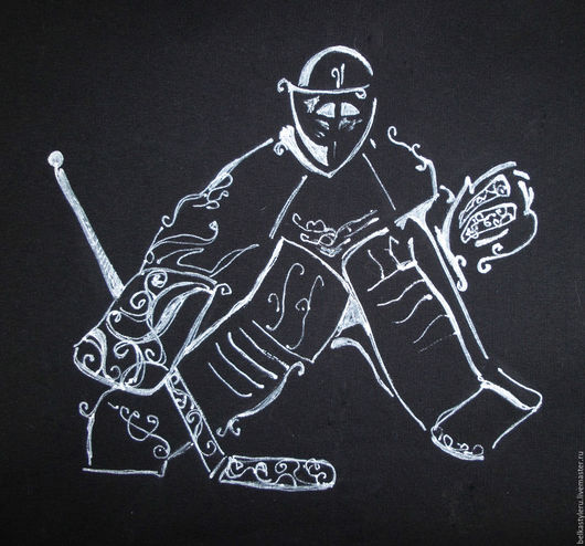 """Кофты и свитера ручной работы. Ярмарка Мастеров - ручная работа. Купить Толстовка,свитшот  с ручной росписью """"Хоккеист"""". Handmade."""