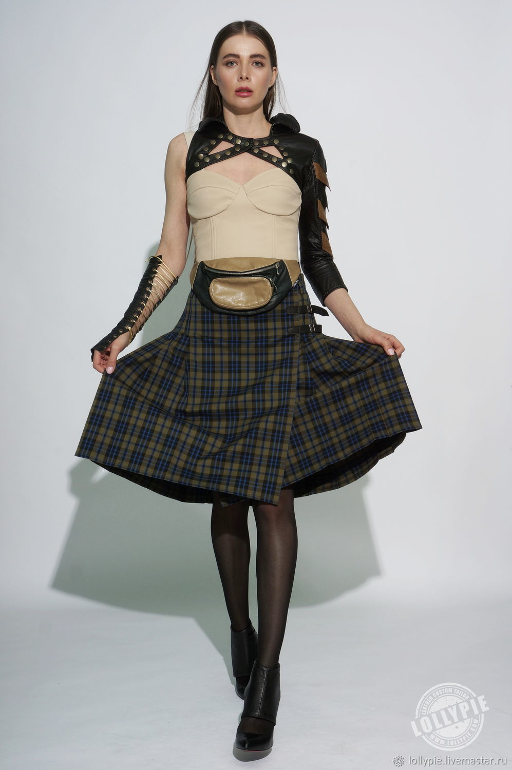 Kilt green tartan skirt pleated in a check on the smell, Skirts, Moscow,  Фото №1