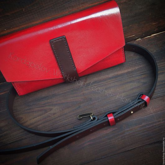 Женские сумки ручной работы. Ярмарка Мастеров - ручная работа. Купить Красный клатч из натуральной кожи. Handmade. Комбинированный, кожа