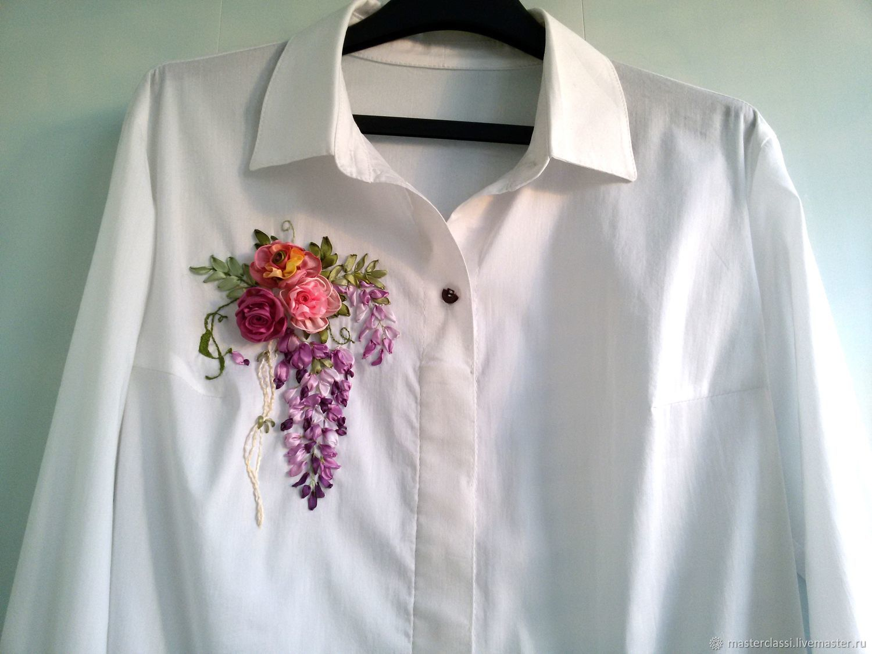 ручной работы. Ярмарка Мастеров - ручная работа. Купить Мастер класс Как вышить на блузке розы и глицинию. Handmade. Розовый