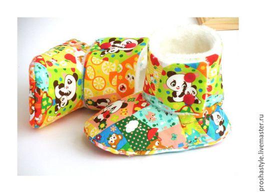 Детская обувь ручной работы. Ярмарка Мастеров - ручная работа. Купить Угги-сапожки текстильные. Handmade. Комбинированный, кнопки
