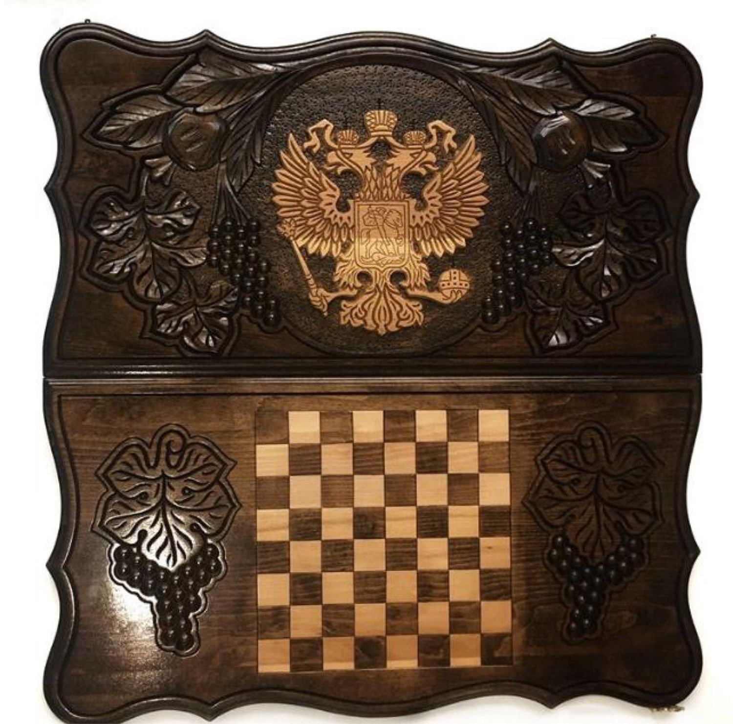 Backgammon carved handmade 'coat Of arms of the Russian Federation' Art. .011, Backgammon checkers, Moscow,  Фото №1