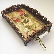 Для дома и интерьера handmade. Livemaster - original item Tray with porcelain handles on elegant stems