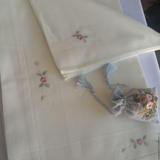 Текстиль, ковры ручной работы. Ярмарка Мастеров - ручная работа. Купить Скатерть. Handmade. Бежевый, кремовый, вышивка, салфетка, мережка
