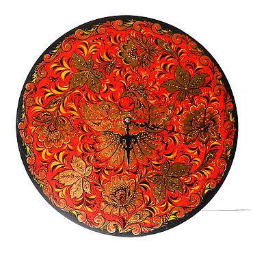 Для дома и интерьера ручной работы. Ярмарка Мастеров - ручная работа Настенные часы картина ручной работы с авторской росписью хохлома. Handmade.