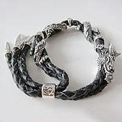 Украшения handmade. Livemaster - original item Bracelet with a dragon made of leather and silver 925. Handmade.