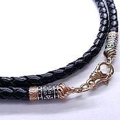Украшения handmade. Livemaster - original item Leather Lace with Gold plating, thickness 4 mm. Handmade.
