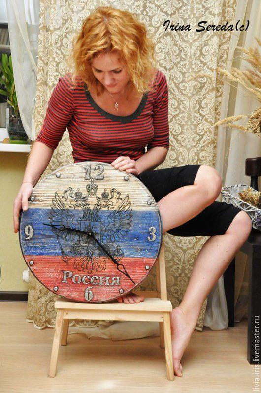 """Часы для дома ручной работы. Ярмарка Мастеров - ручная работа. Купить Большие часы """"Россия"""". Handmade. Часы настенные"""