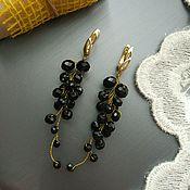 Серьги классические ручной работы. Ярмарка Мастеров - ручная работа Серьги. Серьги-грозди Чёрные Чёрное золото. Handmade.