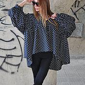 Одежда handmade. Livemaster - original item Blouse, blouse polka dot, Black blouse, Blouse beautiful Clothes EUG. Handmade.