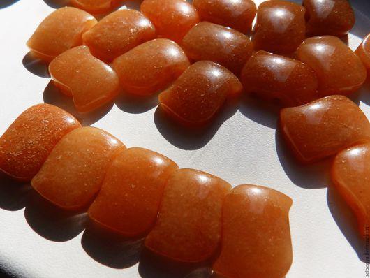 Для украшений ручной работы. Ярмарка Мастеров - ручная работа. Купить Бусины авантюрин оранжевый 2 отверстия для браслета волна. Handmade.