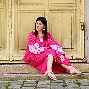 Одежда handmade. Livemaster - original item Pink Embroidered Dress Boho Chic Dress Embroidered Vyshyvanka Dress. Handmade.