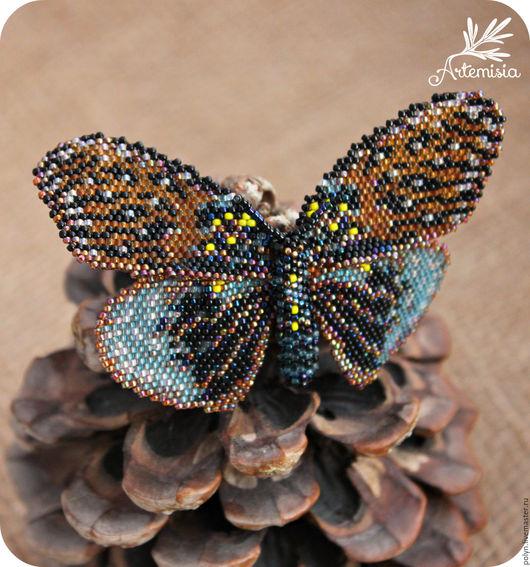 Броши ручной работы. Ярмарка Мастеров - ручная работа. Купить Украшение Брошь бабочка из бисера Эрасмия #2. Handmade.
