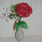 """Цветы и флористика ручной работы. Ярмарка Мастеров - ручная работа Роза из бисера """"Львиное сердце"""". Handmade."""