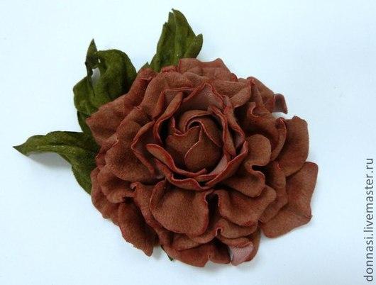 """Цветы ручной работы. Ярмарка Мастеров - ручная работа. Купить Роза """"Мелани"""". Handmade. Бледно-розовый, цветы из кожи"""
