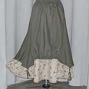 Одежда ручной работы. Ярмарка Мастеров - ручная работа № 154 Льняная юбка бохо летняя двойная. Handmade.
