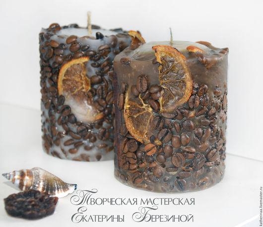 Свечи ручной работы. Ярмарка Мастеров - ручная работа. Купить Кофейная свеча аромат корицы и кофе, дольки апельсина. Handmade.